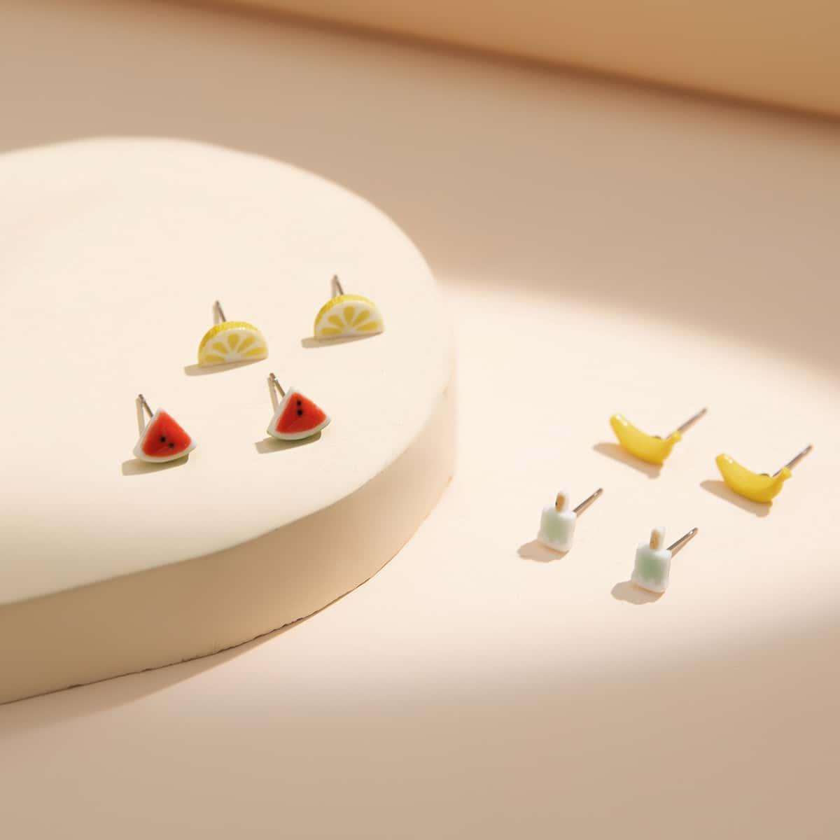 Серьги-гвоздики в форме фруктов для девочек 4 пары