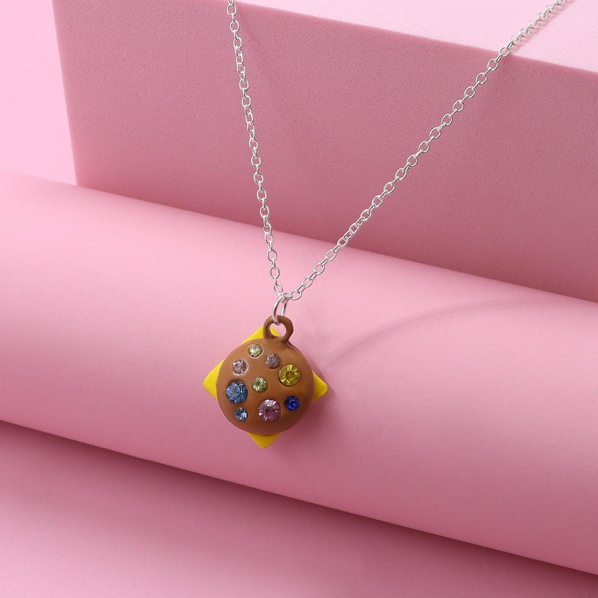 Collar de niñitas con diseño de diamante de imitación