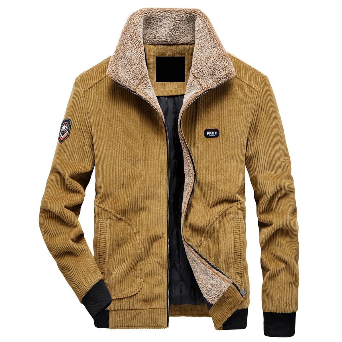 Men Letter Patched Sherpa Lined Corduroy Jacket