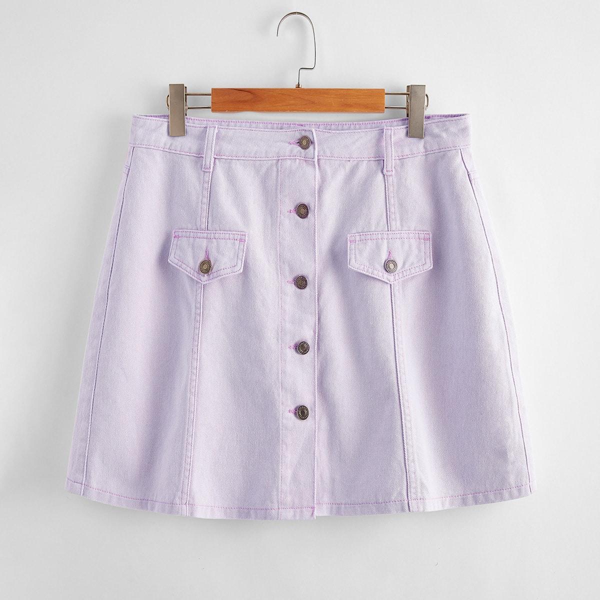 с карманами Одноцветный Повседневный Джинсовые юбки размер плюс