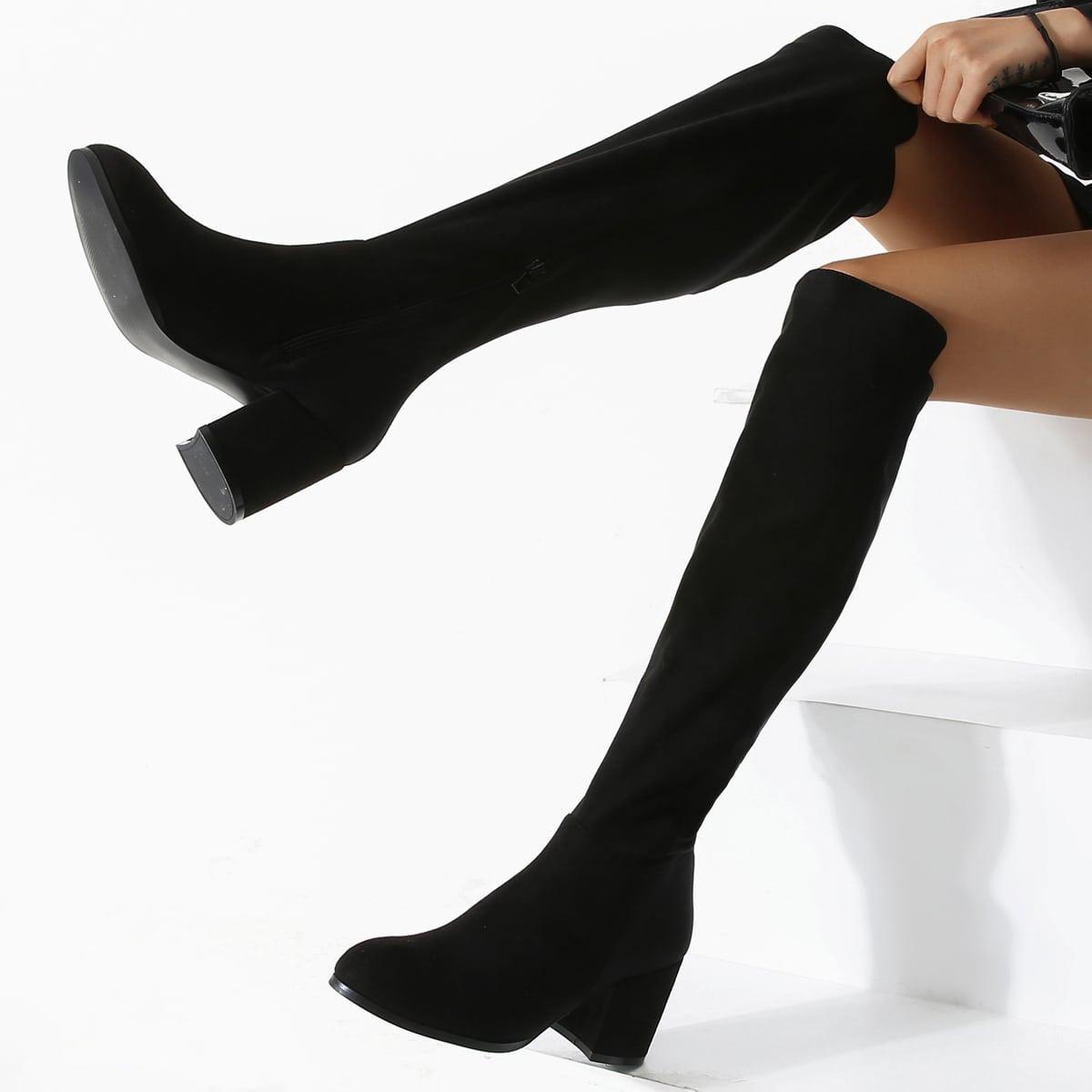 Замшевые сапоги выше колена с боковой молнией от SHEIN