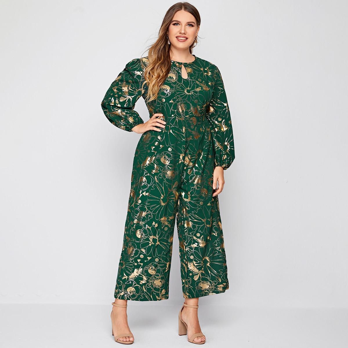 SHEIN / Culotte Jumpsuit mit Blumen Muster und Schlüsselloch Kragen