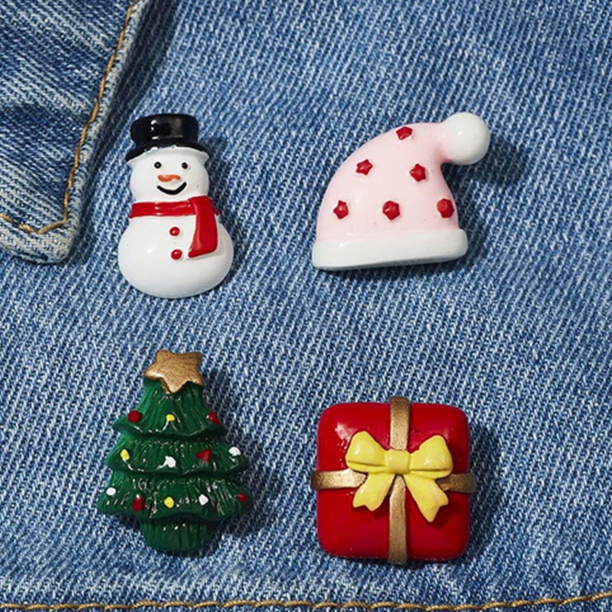 4шт Рождественская брошь в форме подарка от SHEIN