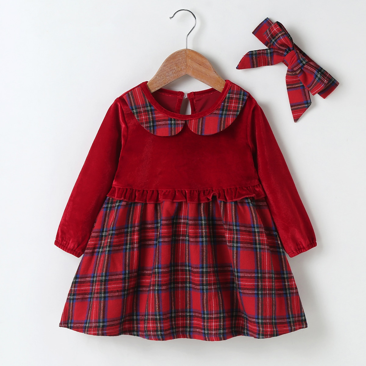 shein Preppy Ruitmotief Baby-jurk Rimpeling