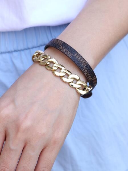 Chain PU Leather Bracelet