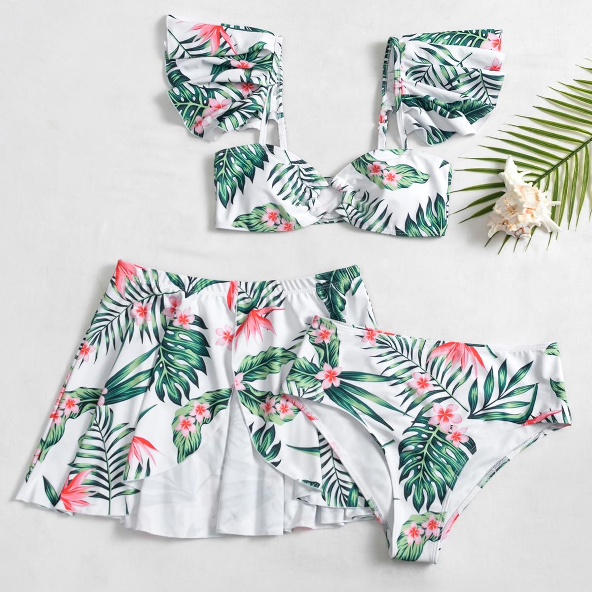 SHEIN / 3pack Floral & Tropical Ruffle Bikini Swimsuit