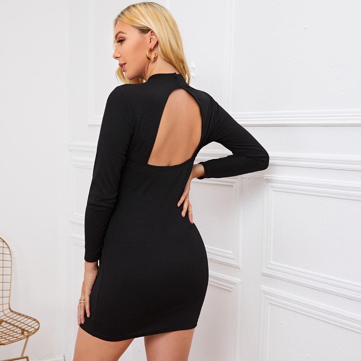 Облегающее платье для беременных с воротником-стойкой от SHEIN