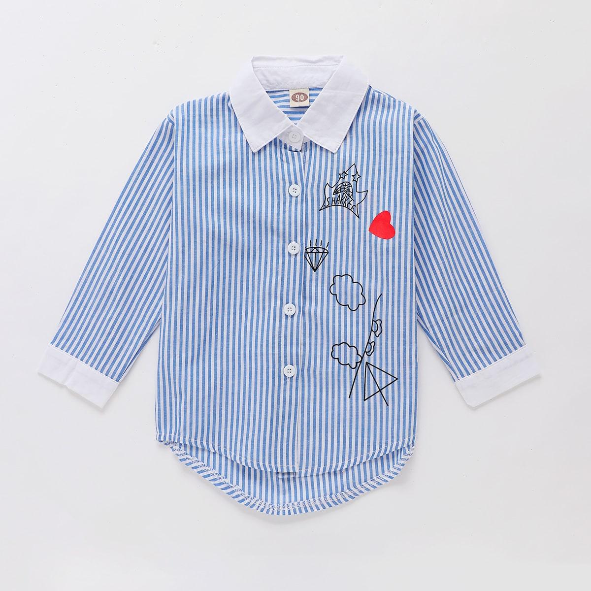 Асимметричная блуза в полоску с контрастным воротником