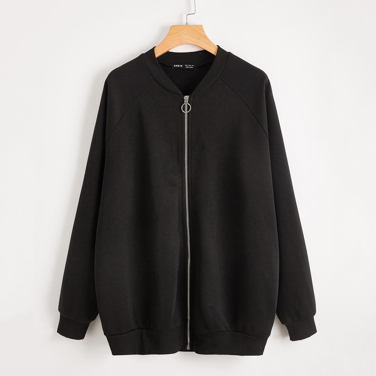 Куртка бомбер оверсайз с графическим принтом и молнией