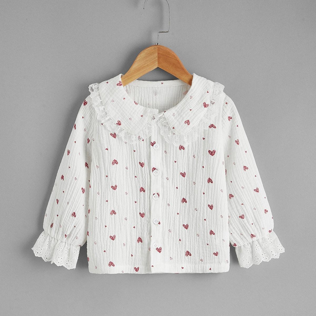 Блуза с кружевом и принтом сердца