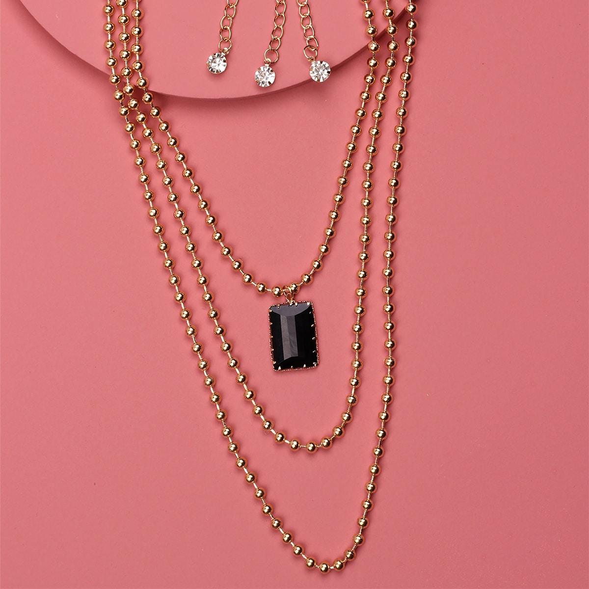 SHEIN / 3 Stücke Mehrschichtige Halskette mit Geo Anhänger
