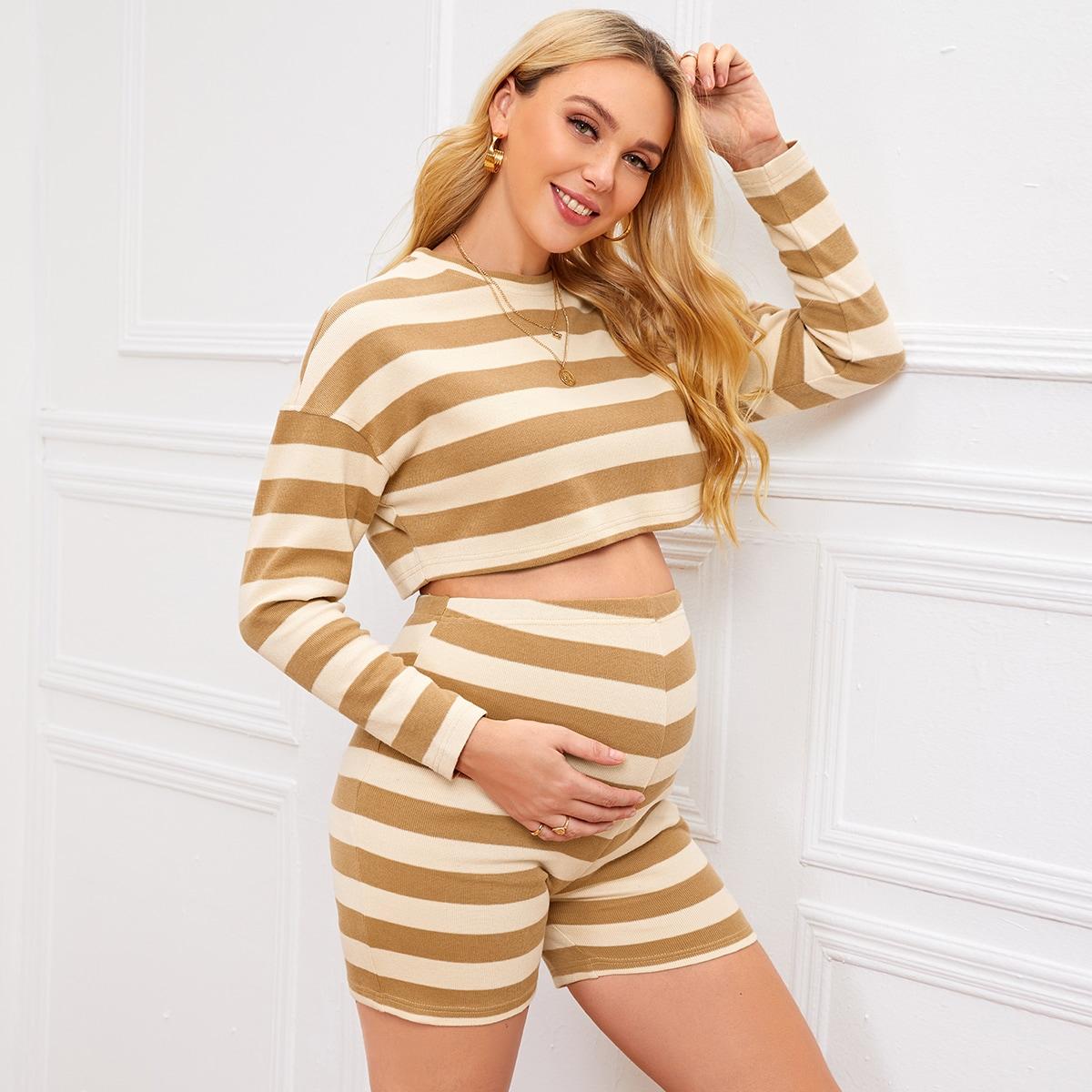 Топ и байкерские шорты в полоску для беременных от SHEIN