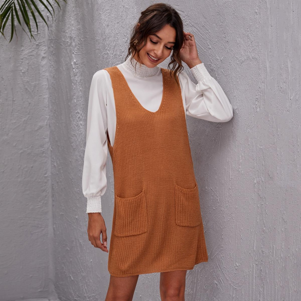 shein Casual Vlak Gebreide jurk Zak