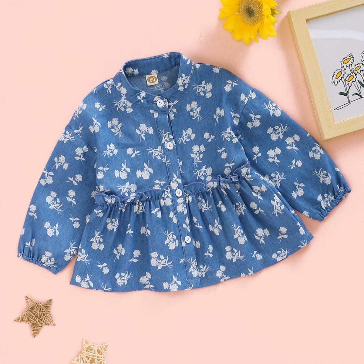 Джинсовая блуза с цветочным принтом для девочек от SHEIN