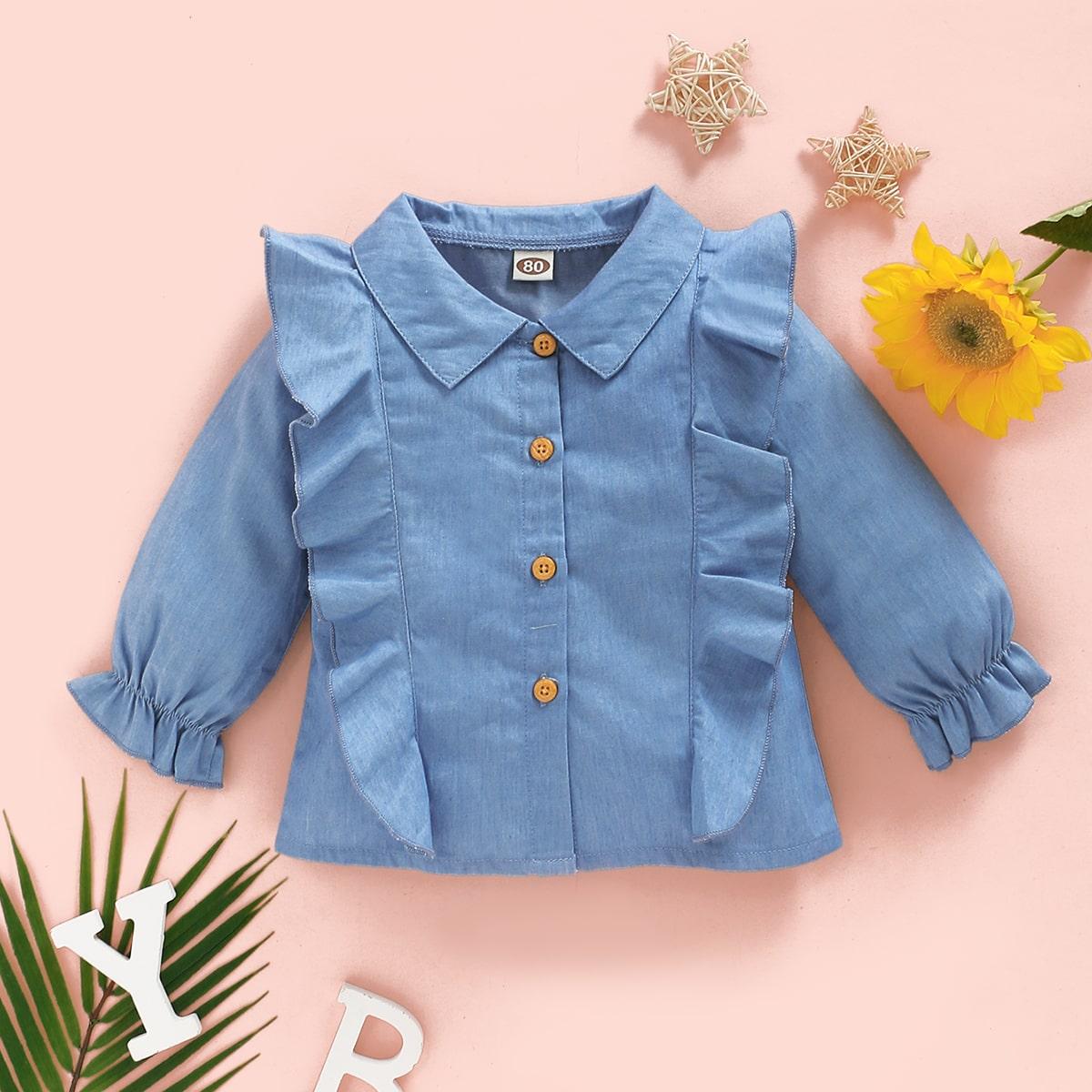 Джинсовая блуза с оригинальным рукавом для девочек от SHEIN