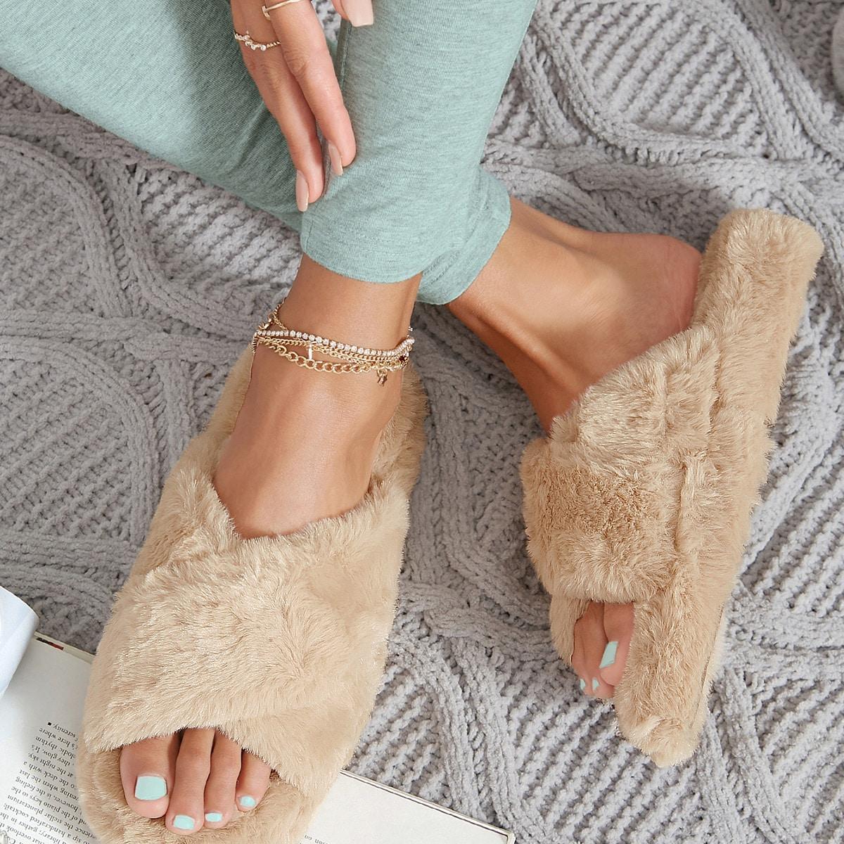 SHEIN / Faux Fur Crisscross Vamp Open-Toe Slide Sandals