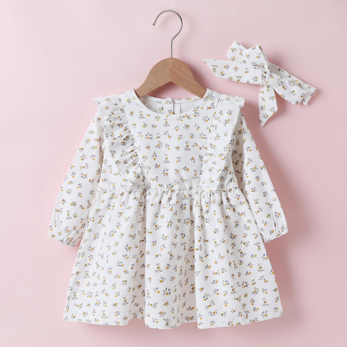 shein Casual Vrolijke Bloemetjes Baby-jurk Rimpeling