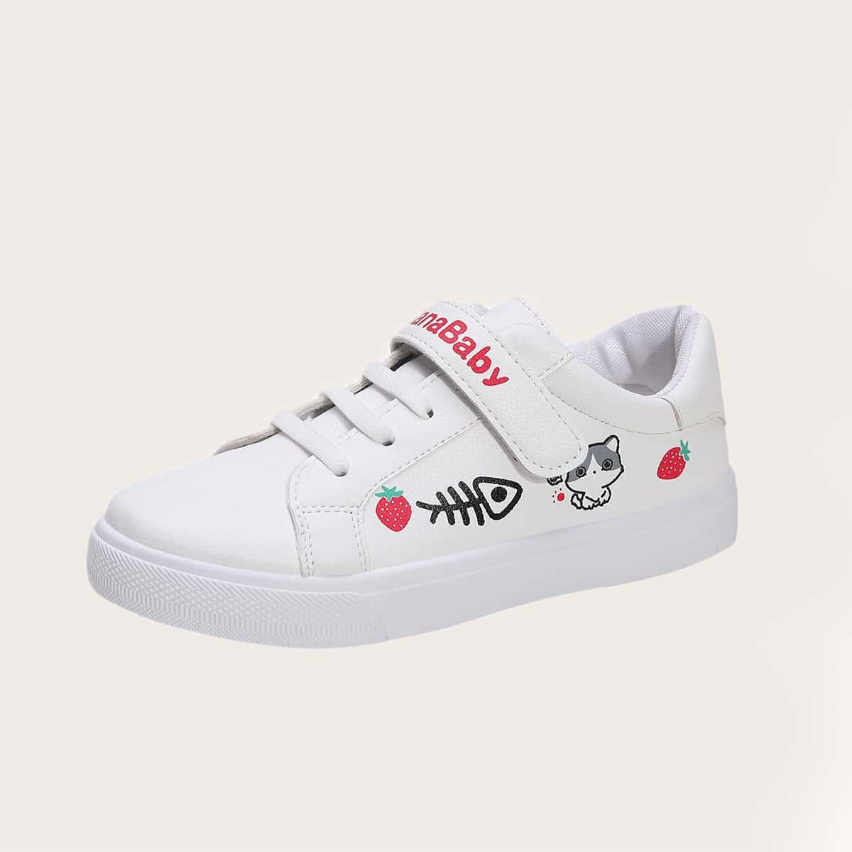 Туфли на липучке с мультипликационным принтом для девочек от SHEIN
