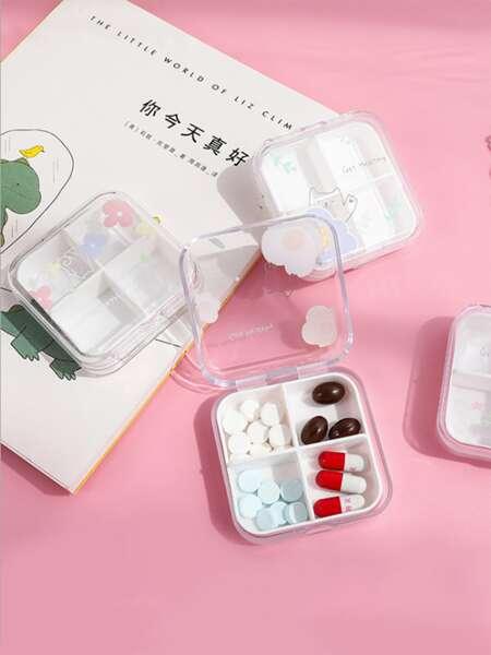 1pc Flower Print Random Pill Storage Box