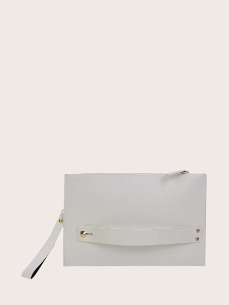 Lizard Embossed Clutch Bag With Wristlet