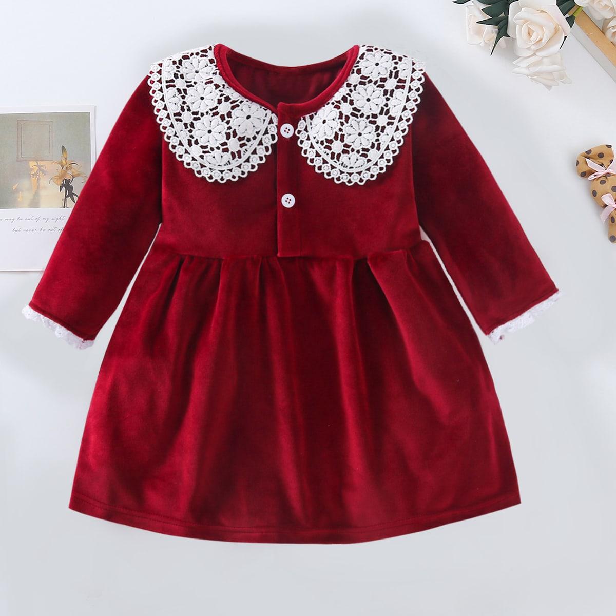 shein Betoverend Kleurblok Baby-jurk Knoop
