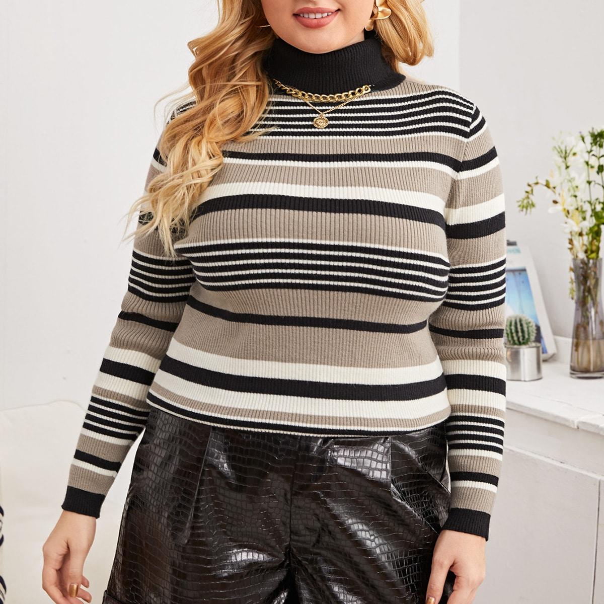 SHEIN / Pullover mit Streifen Muster und Rollkragen
