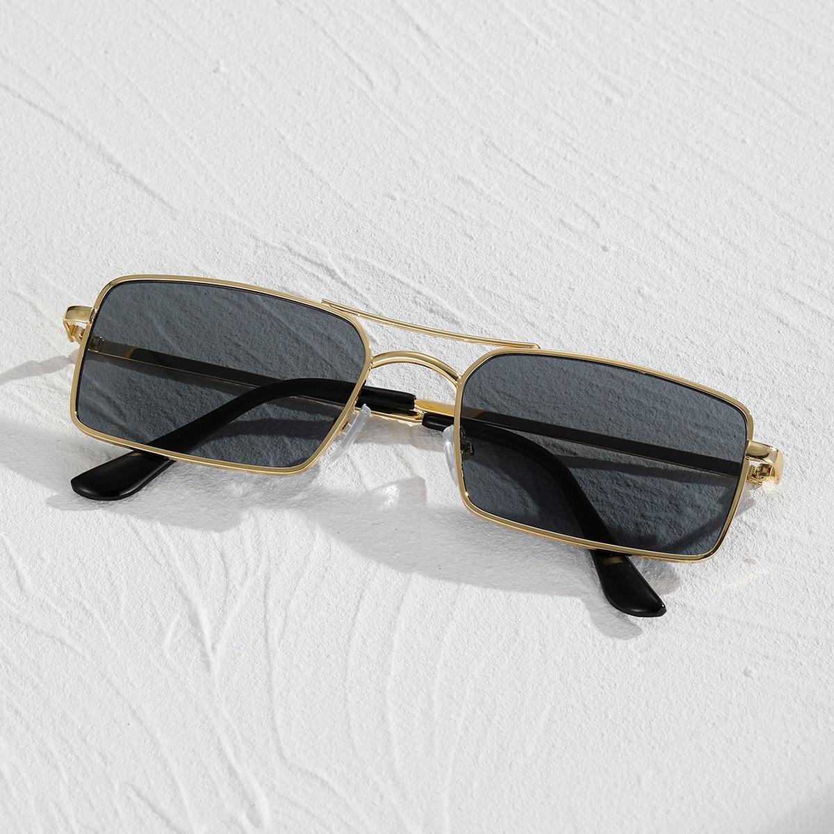 shein Rechthoekige Len heren zonnebril met metalen montuur