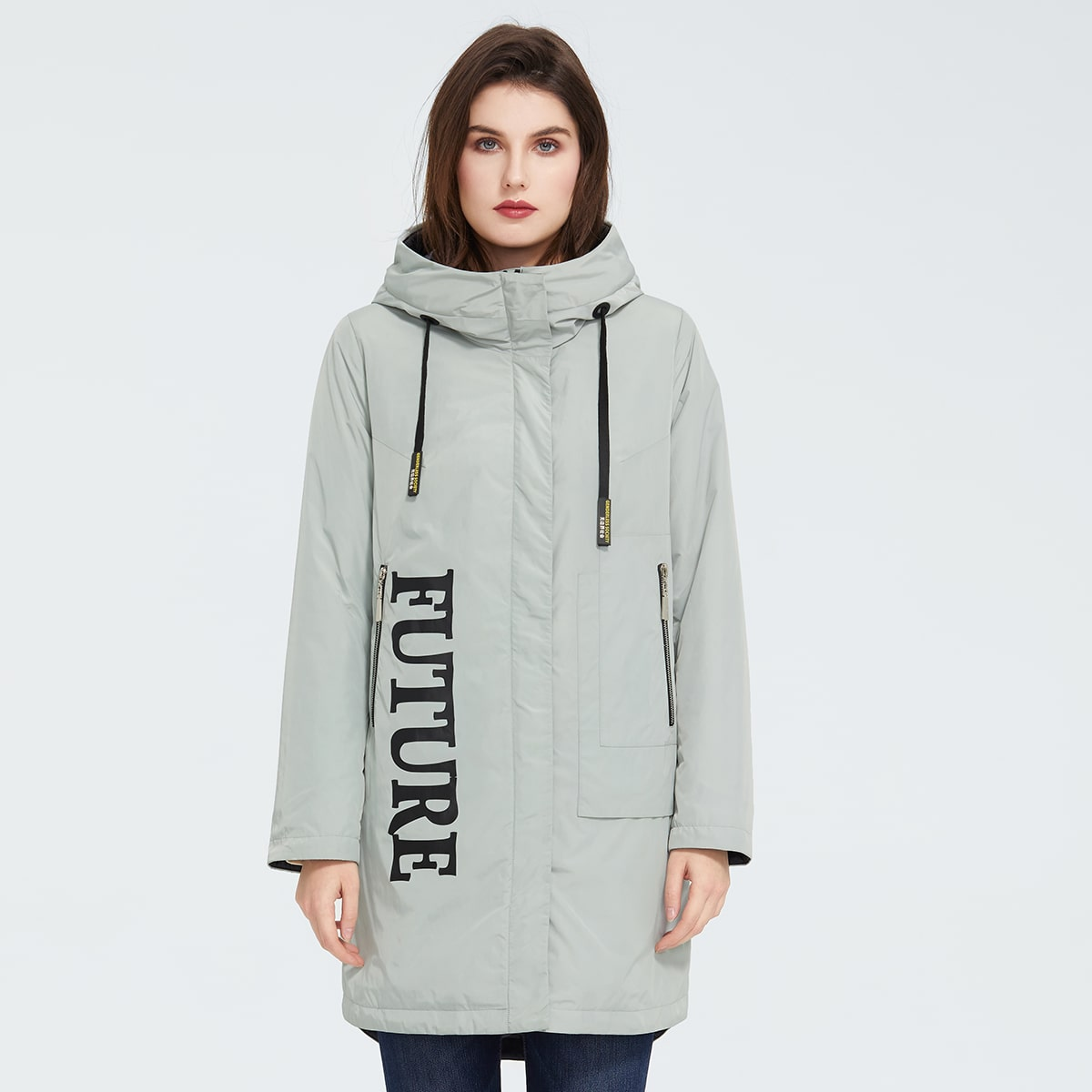 Ziai Letter Graphic Drawstring Hooded Padded Coat