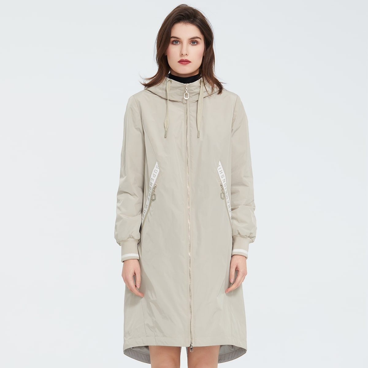 Ziai Letter Graphic Tape Zip Up Hooded Coat