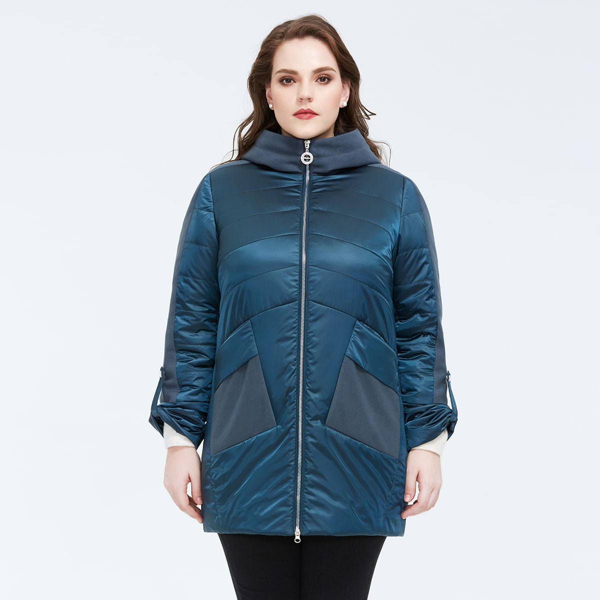 Astrid Plus Roll Up Sleeve Zip Up Quilted Hooded Puffer Coat