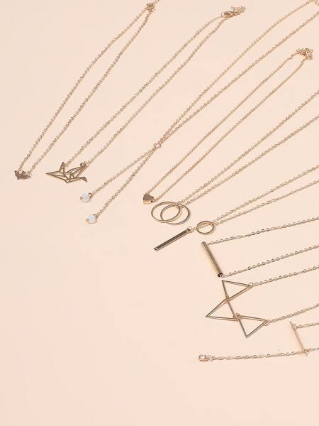 9pcs Geometric Charm Necklace