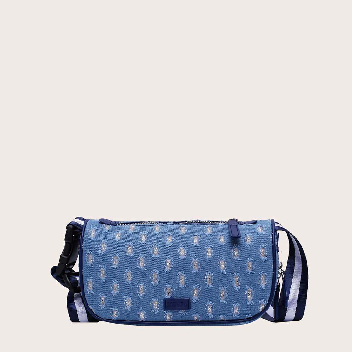 Bolsa bandolera con diseño crudo denim