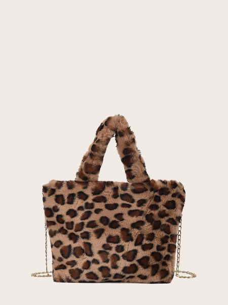 Leopard Fluffy Tote Bag