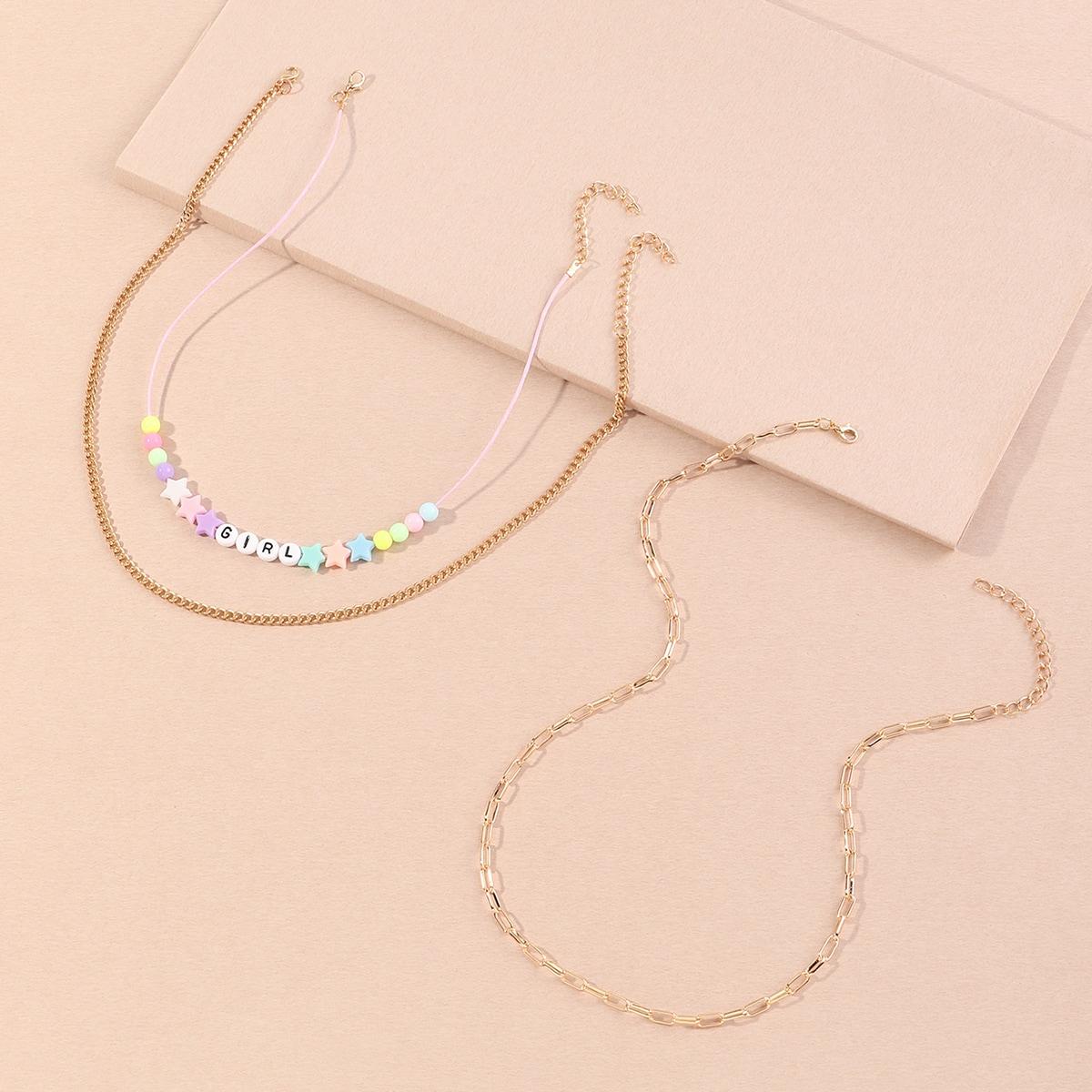 SHEIN / 3 Stücke Kleinkind Mädchen Halskette mit Buchstaben & Stern Anhänger