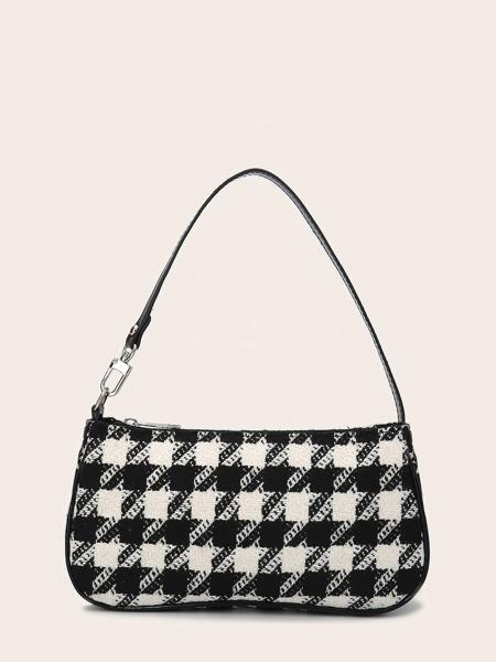 Houndstooth Baguette Bag