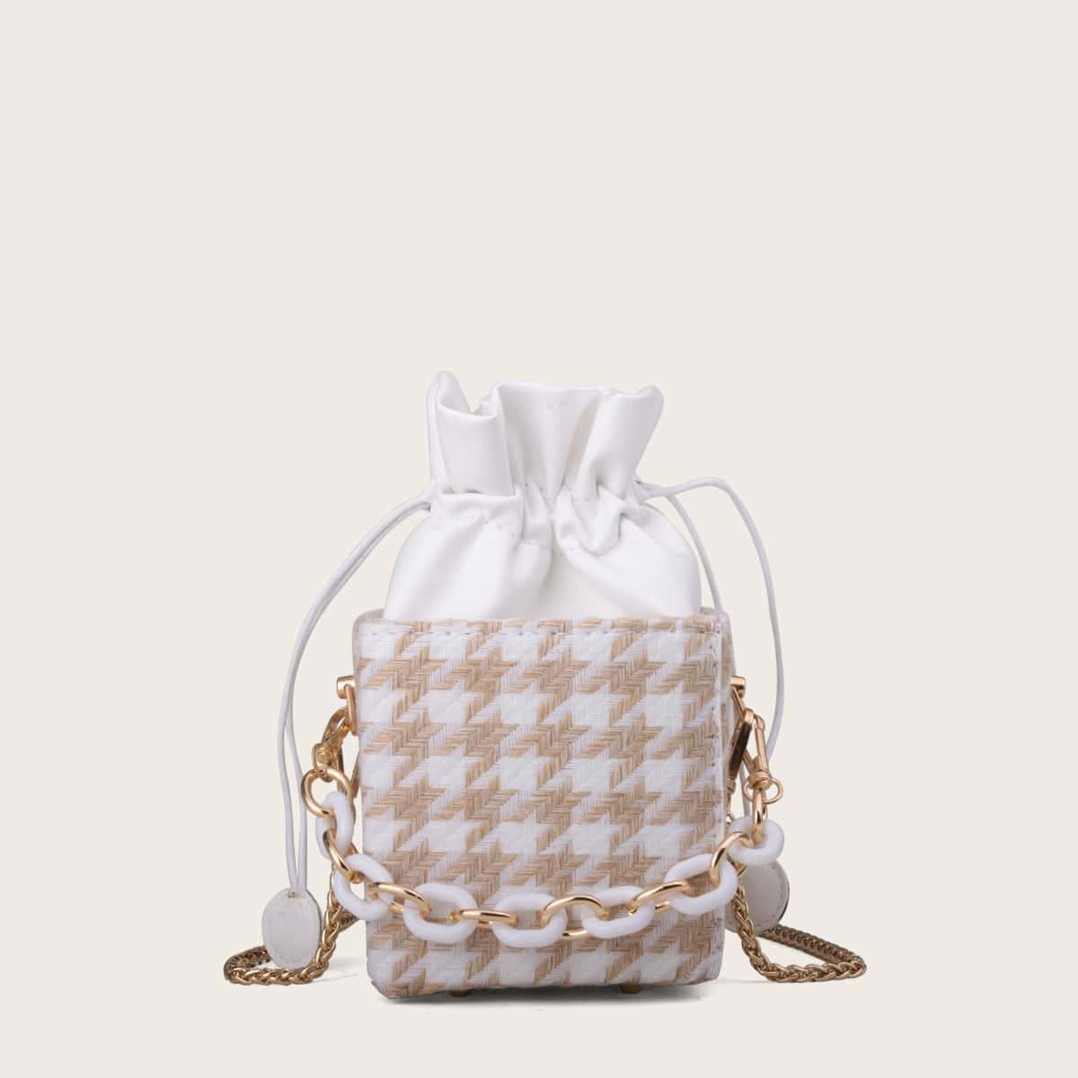 Bolsa cartera de pata de gallo mini con diseño de cordón