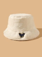 Butterfly Embroidered Fluffy Bucket Hat