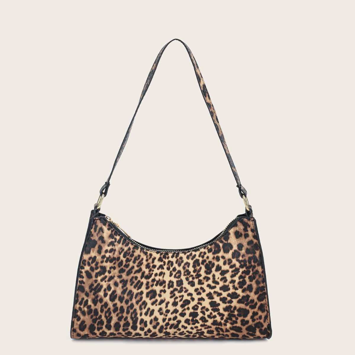Bolsa baguette con estampado de leopardo