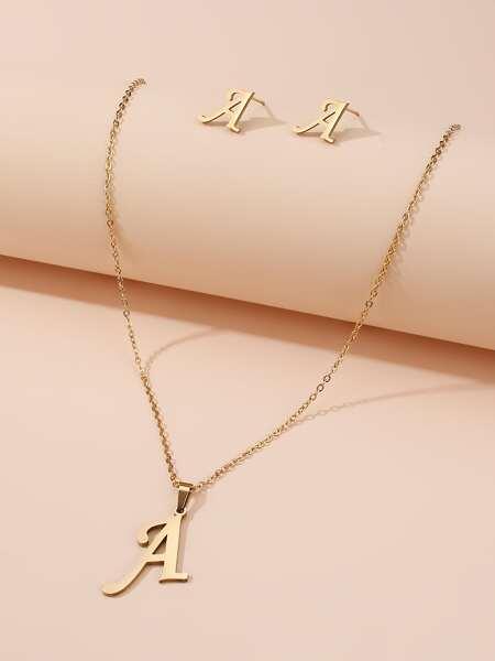 1pc Letter Pendant Necklace & 1pair Earrings