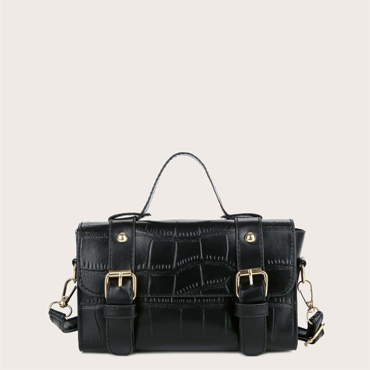 Bolsa cartera con doble hebilla con diseño de cocodrilo