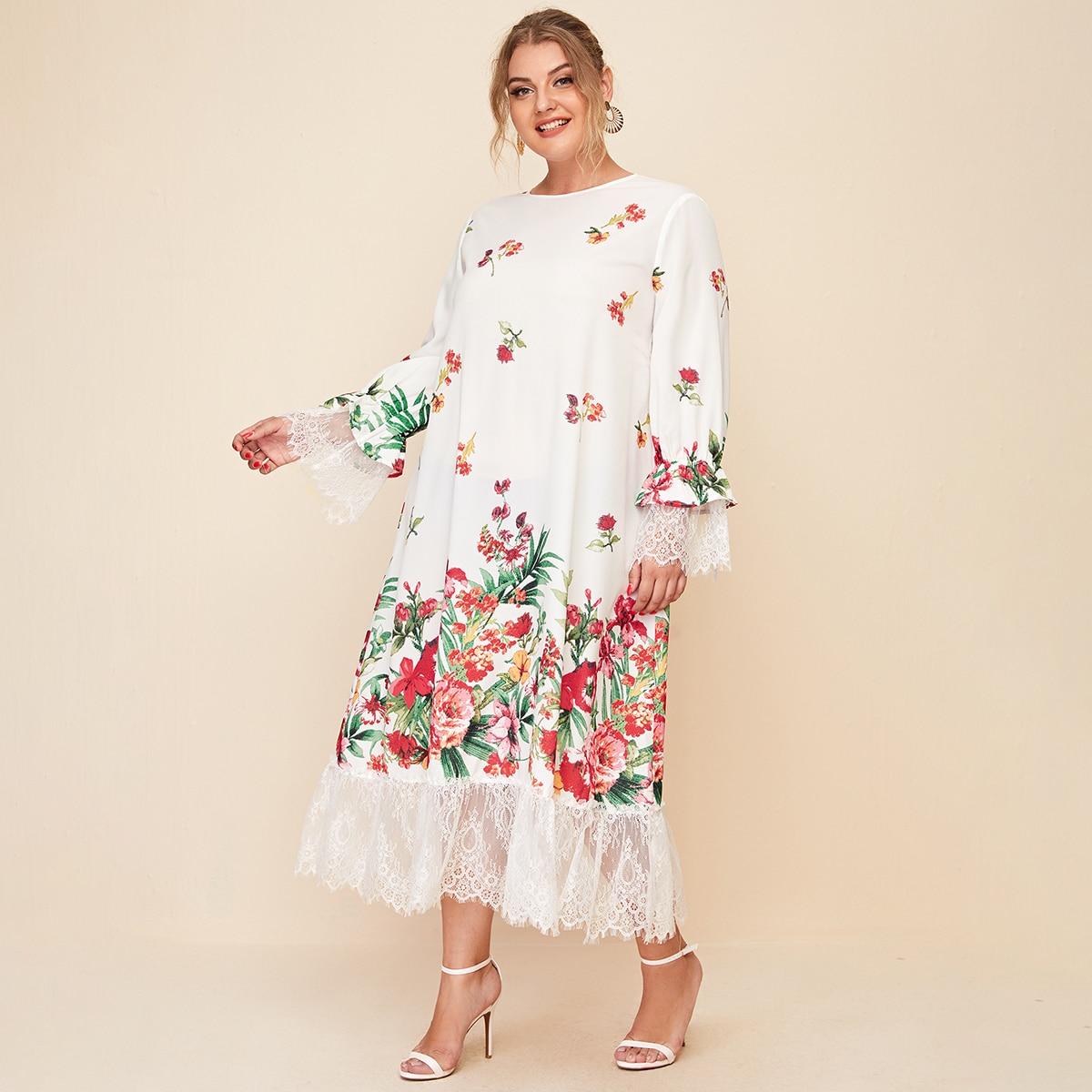 SHEIN / Kleid mit Schlüsselloch hinten, Spitzen Detail und Blumen Muster