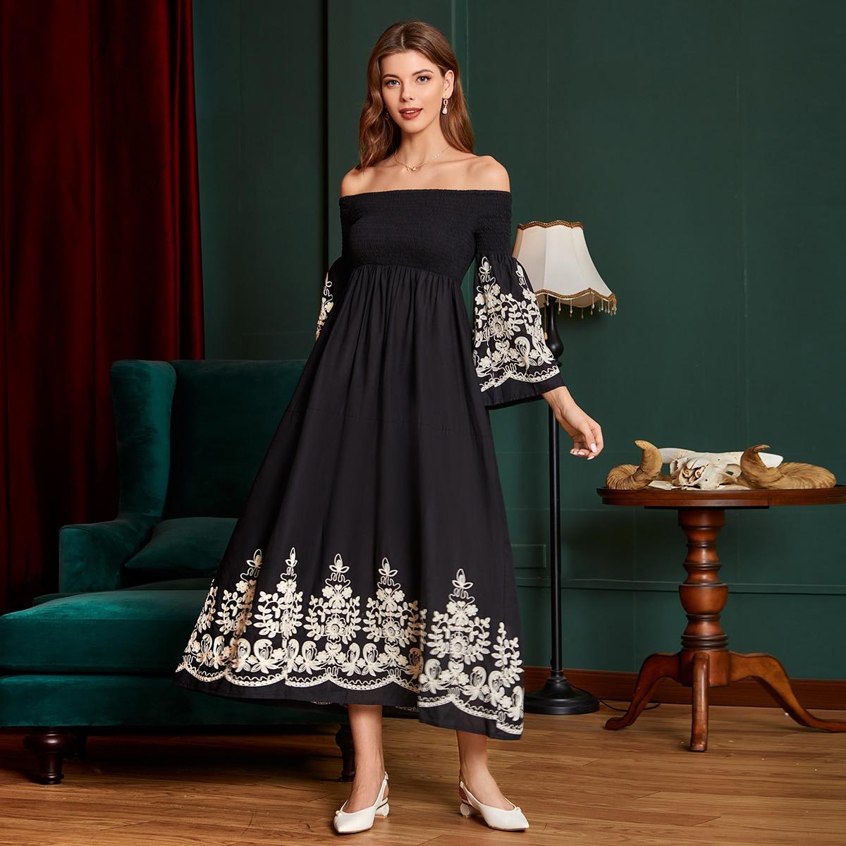 SHEIN / Bardot Flounce Sleeve Shirred A-line Dress