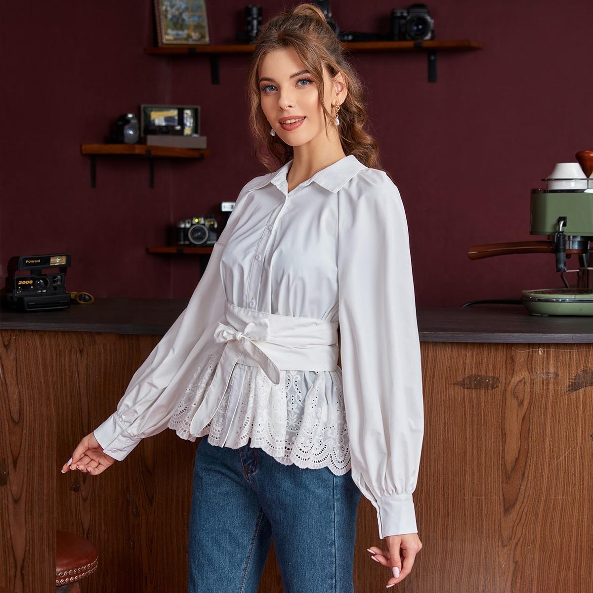 SHEIN / Camisa con cinturón de manga raglán con bordado