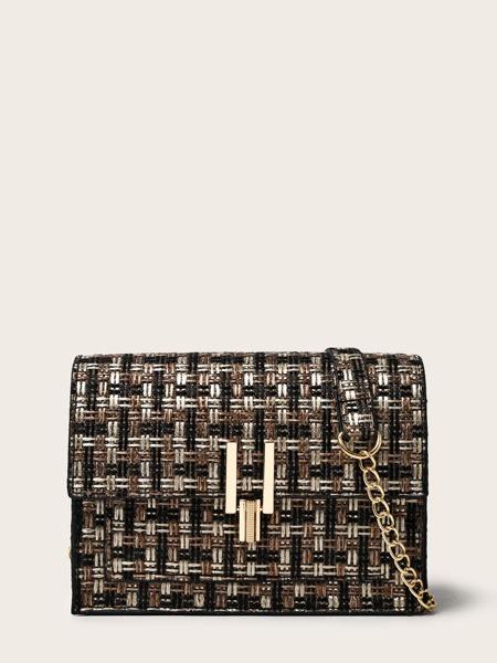 Metal Lock Tweed Flap Crossbody Bag