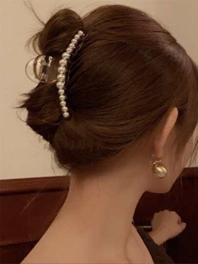 1pc Faux Pearl Clear Hair Claw