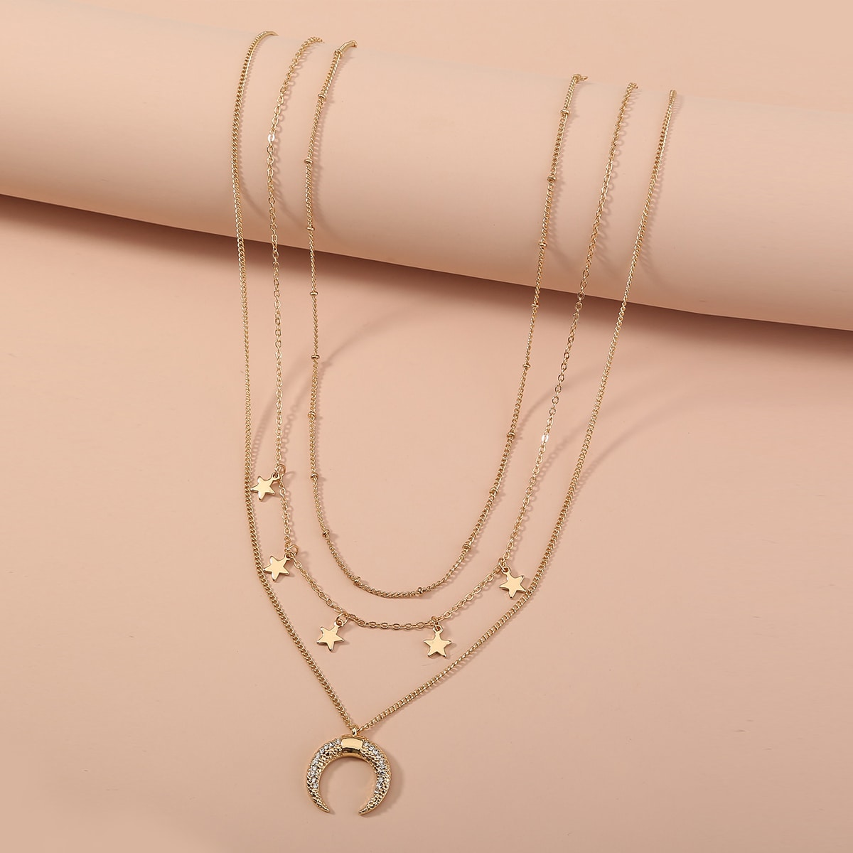 SHEIN / 3 Stücke Halskette mit Mond & Stern Anhänger