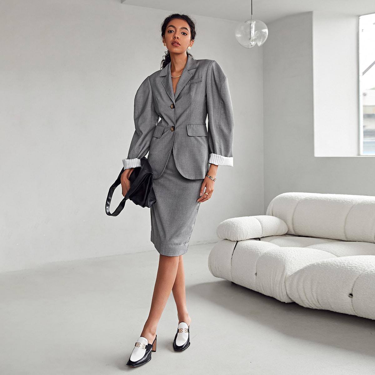 Пиджак с пуговицами и пышным рукавом от SHEIN