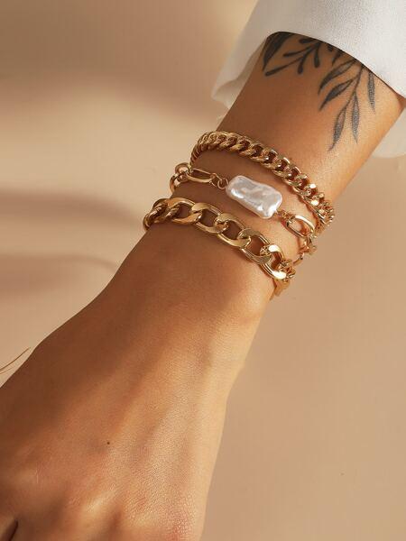 3pcs Faux Pearl Decor Bracelet