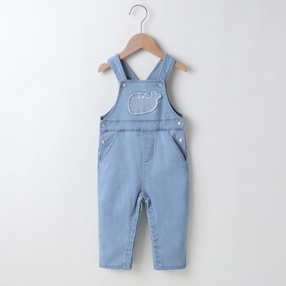 Детский джинсовый комбинезон с карманом и принтом кита для девочек от SHEIN