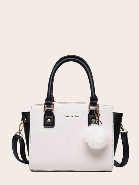 Pom-pom Charm Double Handle Tote Bag